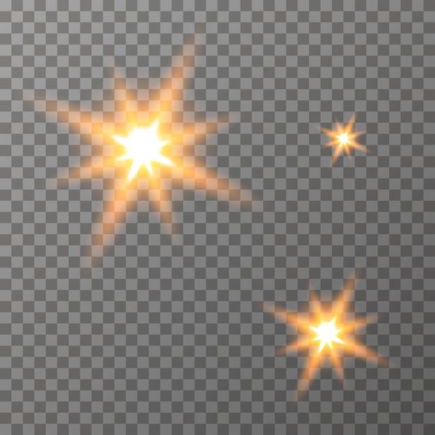 Glühende lichtsterne auf dem transparenten hintergrund vektor Premium Vektoren