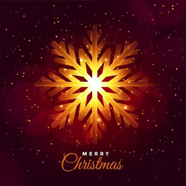 Glühende schneeflockenfestivalkarte der frohen weihnachten Kostenlosen Vektoren