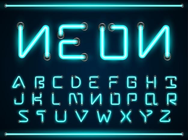 Glühende schriftarten des blauen neonlichtes stellten, az-alphabettextsymbole ein Premium Vektoren