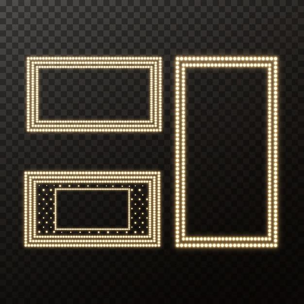 Glühendes filmschild mit goldener glühlampe Premium Vektoren