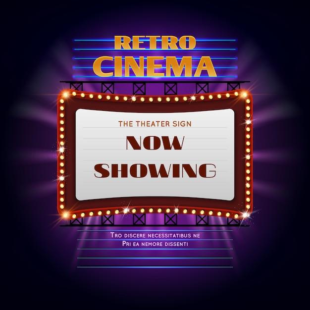 Glühendes helles zeichen des retro hollywood-kinos 3d. anzeigen-anschlagtafel-vektorillustration des filmlichtes. retro kino billboard event Premium Vektoren