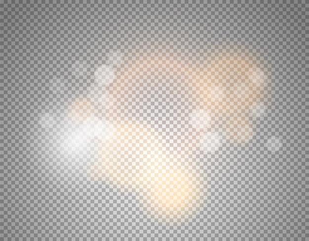 Glüheneffekt lokalisiert auf transparentem Premium Vektoren