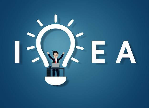 Glühlampe des kreativen ideentextes Premium Vektoren