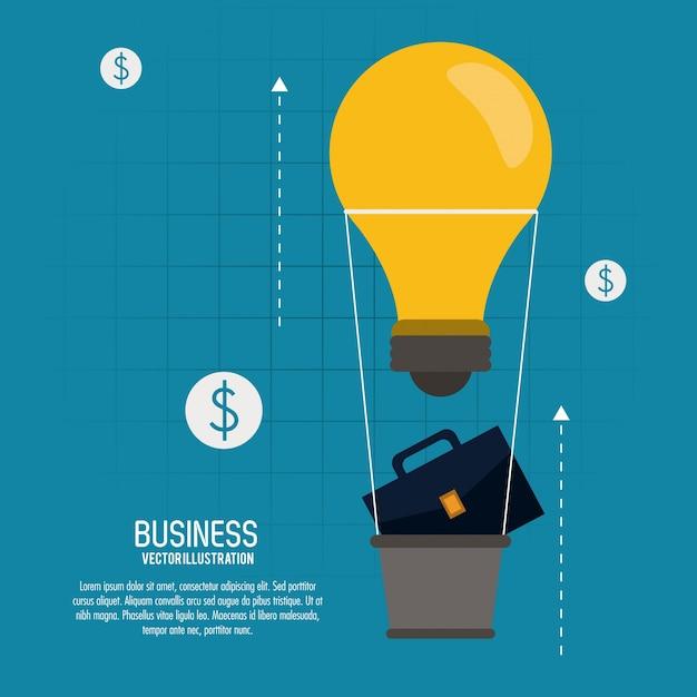 Glühlampe-heißluftballonkoffer-geschäftsikone Premium Vektoren