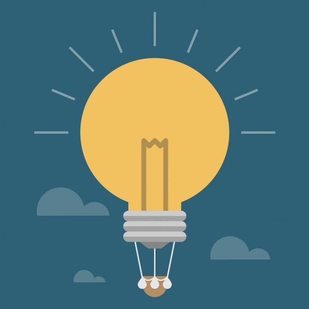 Glühlampe wie ein heißluftballon Kostenlosen Vektoren