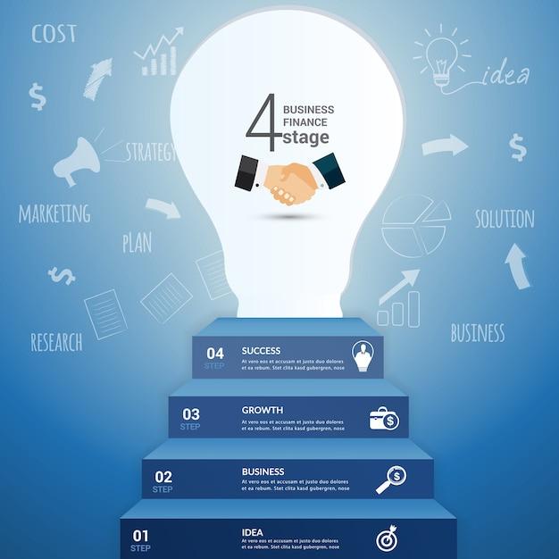 Glühlampeidee infographic. Premium Vektoren