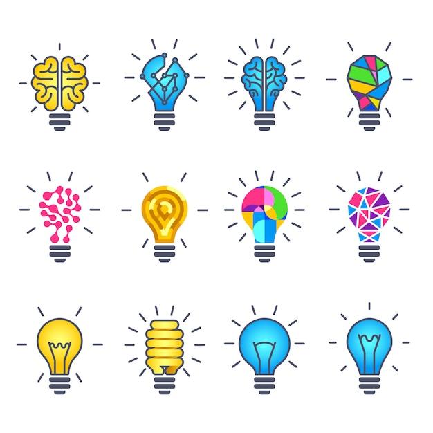 Glühlampeidee, kreative ikonen Premium Vektoren