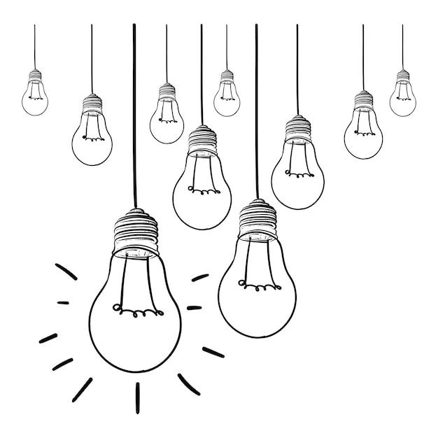 Glühlampeideen-vektorillustration auf weißem hintergrund Premium Vektoren