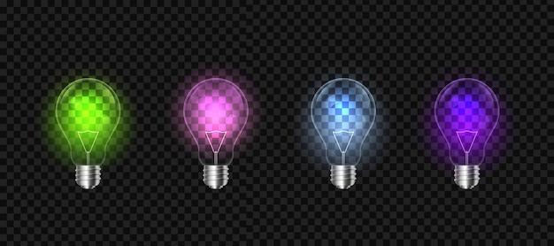 Glühlampen auf hintergrund, led-glühlampe. Premium Vektoren