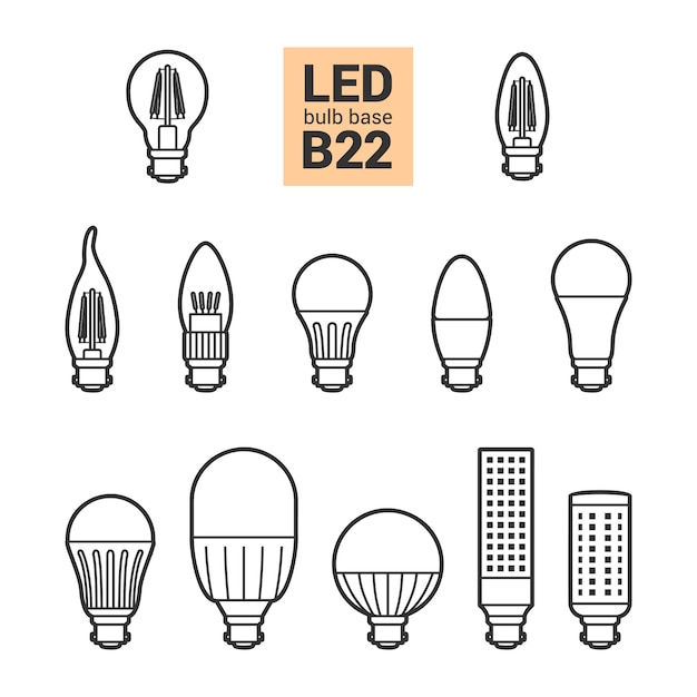 Glühlampenvektorentwurfs-ikonensatz led-lichtes b22 Premium Vektoren