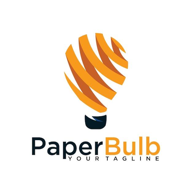 Glühbirne Papier Schrägstrich Logo Design-Vorlage isoliert ...