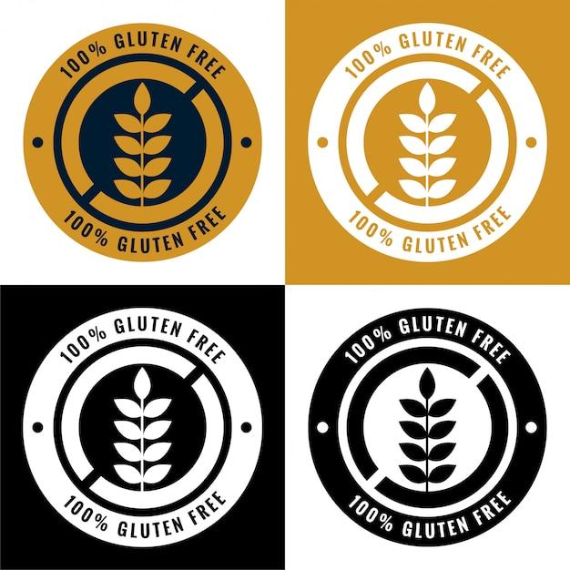 Glutenfreie aufkleber und symbolikonen eingestellt Kostenlosen Vektoren