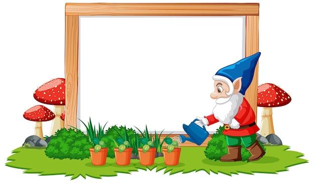 Gnome bewässerungspflanzen position vor leerem banner auf weiß Kostenlosen Vektoren