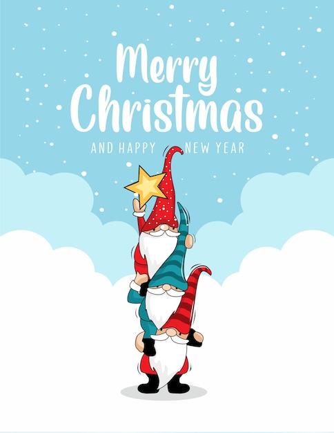 Gnome stack frohe weihnachtskarten Premium Vektoren