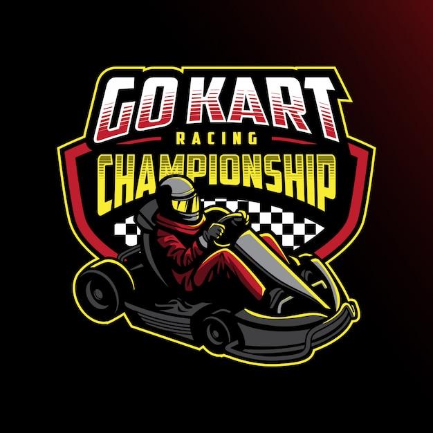 Go kart racing meisterschaft abzeichen design Premium Vektoren