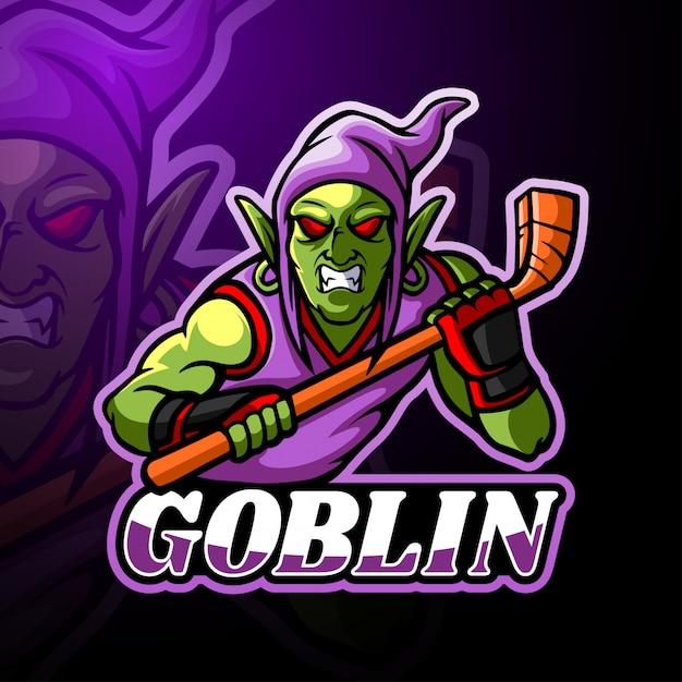 Goblin esport logo maskottchen design Premium Vektoren