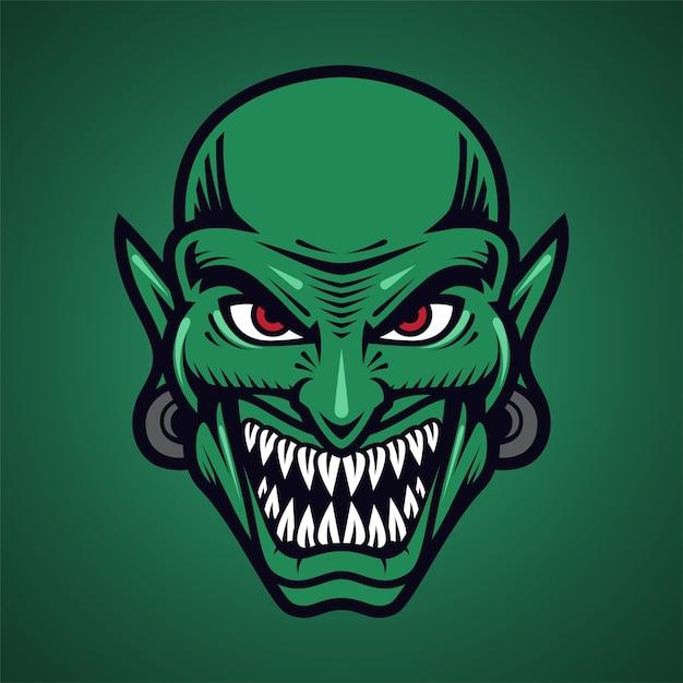 Goblin kopf maskottchen logo Premium Vektoren