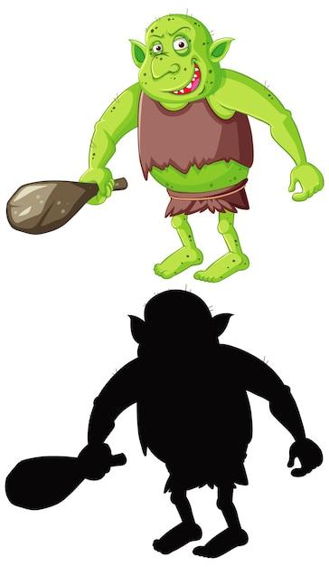 Goblin oder troll in farbe und silhouette in zeichentrickfigur auf weiß Kostenlosen Vektoren