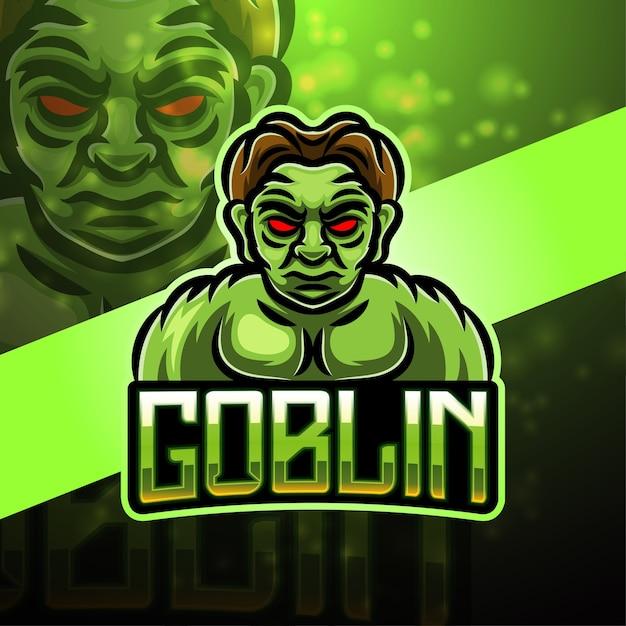 Goblin sport maskottchen logo design Premium Vektoren