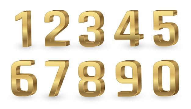 Gold 3d zahlen Premium Vektoren