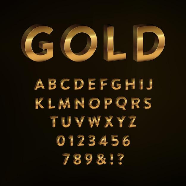Gold alphabet design Kostenlosen Vektoren