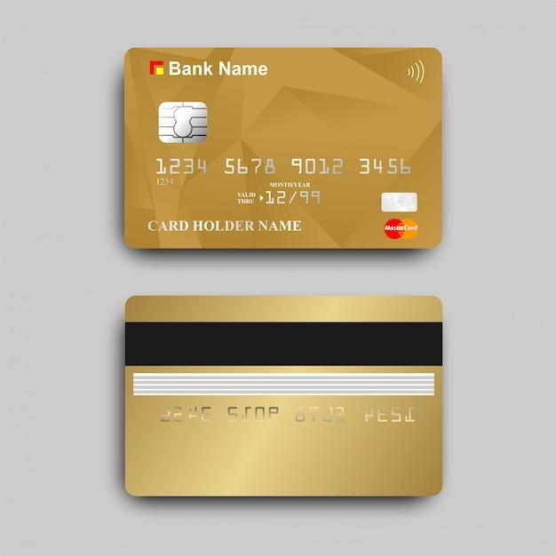 Gold-atm-karte mit dem paywave-logo Premium Vektoren