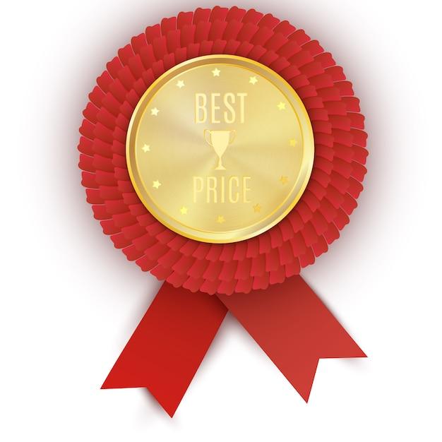 Gold bester preis abzeichen mit roter schleife Premium Vektoren