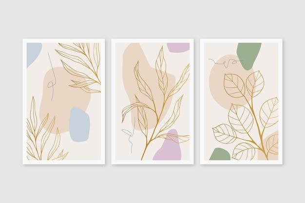 Gold botanisches cover pack Kostenlosen Vektoren