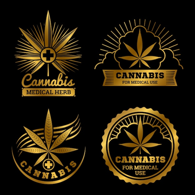 Gold cannabis medizinische logos set illustration Premium Vektoren