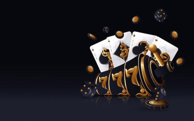 Gold casino slot, pokerkarten, pokerchips und würfel auf dem goldenen hintergrund Premium Vektoren