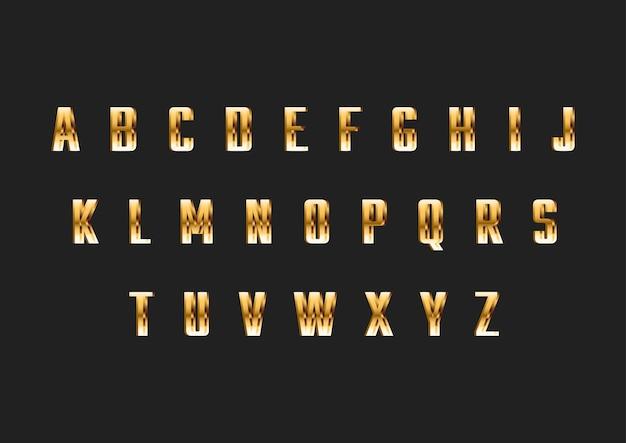 Gold dünne moderne schrift alphabet Premium Vektoren