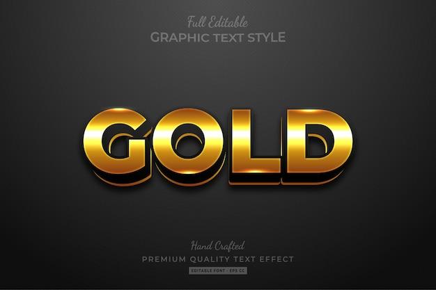 Gold eleganter bearbeitbarer textstil-effekt Premium Vektoren