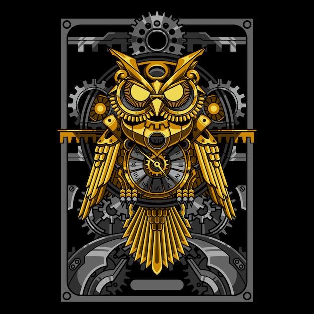 Gold eule steampunk illustration und t-shirt design Premium Vektoren