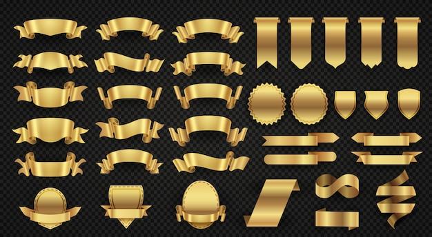 Gold fahnenbänder einwickeln, elegante goldene gestaltungselemente Premium Vektoren