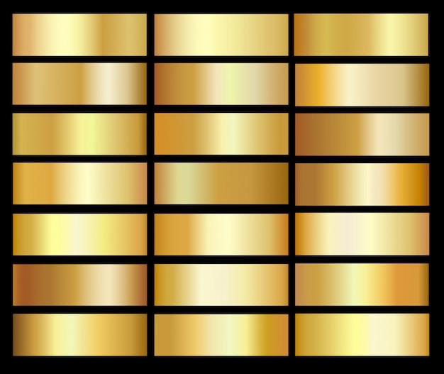 Gold farbverläufe vorlagensatz Premium Vektoren