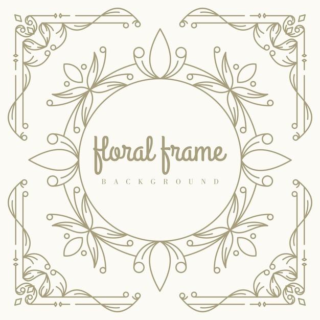 Gold floral frame hintergrundvorlage Premium Vektoren