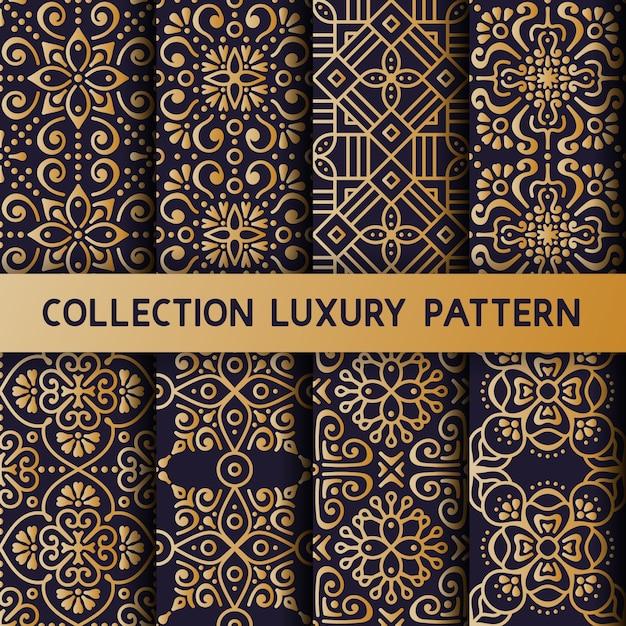 Gold floral Luxus nahtlose Muster Kostenlose Vektoren