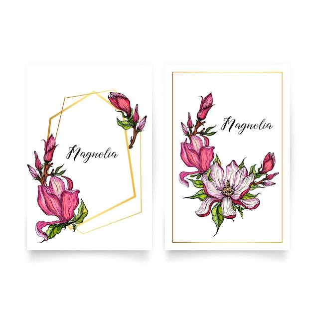 Gold geometrische goldrahmen mit magnolienblüten Premium Vektoren
