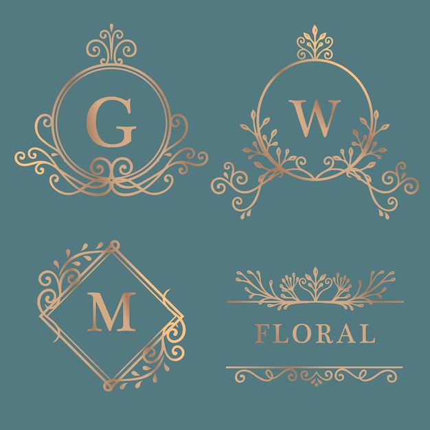 Gold gerahmte logo-kollektion Kostenlosen Vektoren