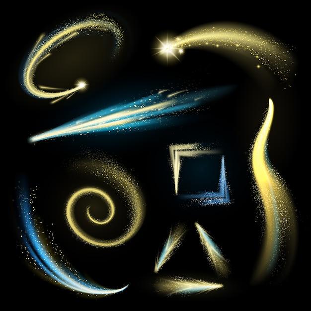 Gold glitzernde elemente mit glänzenden strichen und kometen gesetzt Kostenlosen Vektoren