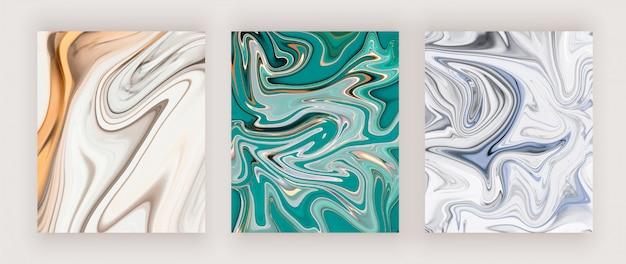 Gold, grün und blau und blau flüssige tinte malerei design-cover. Premium Vektoren