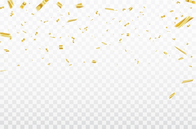Gold konfetti feier karneval bänder. Premium Vektoren