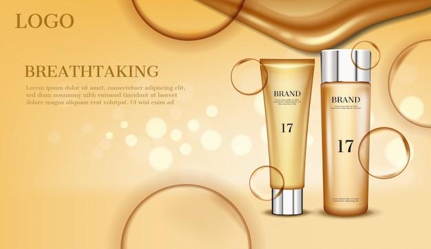 Gold kosmetik set vektor-konzept Premium Vektoren