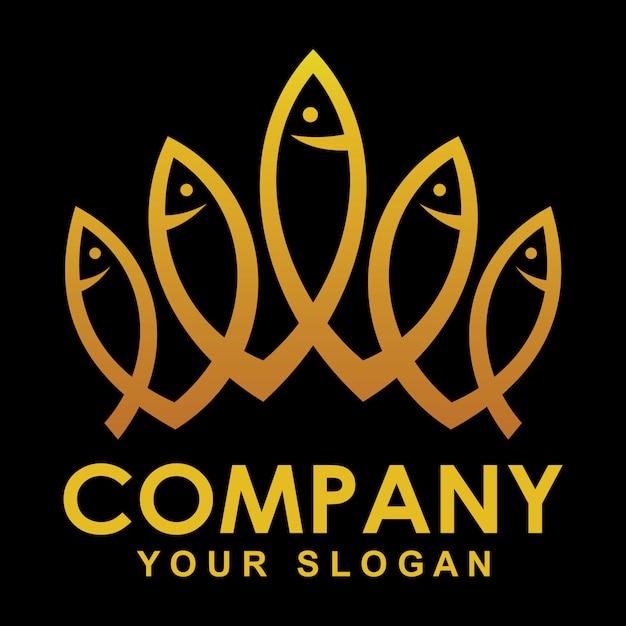 Gold krone fisch logo Premium Vektoren