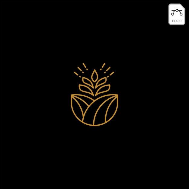 Gold landwirtschaft farm linie abzeichen vintage logo Premium Vektoren