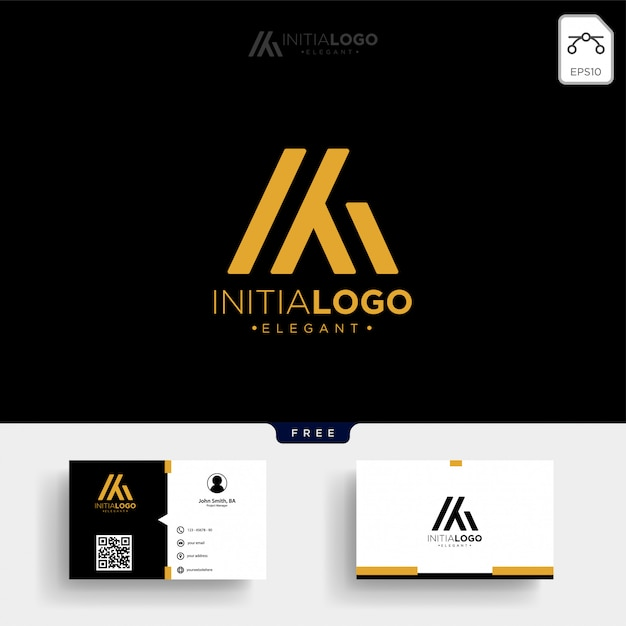 Gold luxus- und premium-m- oder km-logo-vorlage Premium Vektoren
