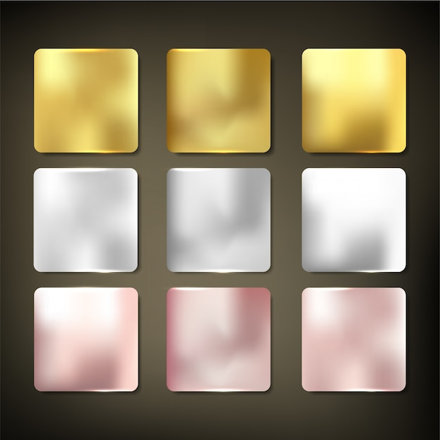 Gold material textur set style Premium Vektoren