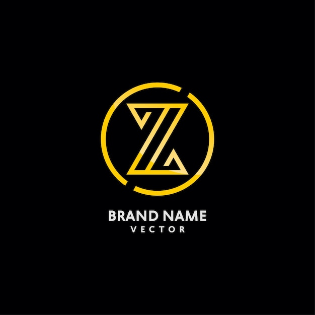 Gold monogramm z brief logo design Premium Vektoren