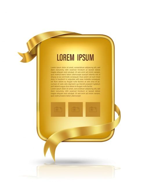 Gold plakatwand und goldband Premium Vektoren