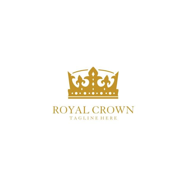 Gold royal crown logo entwurfsvorlage Premium Vektoren